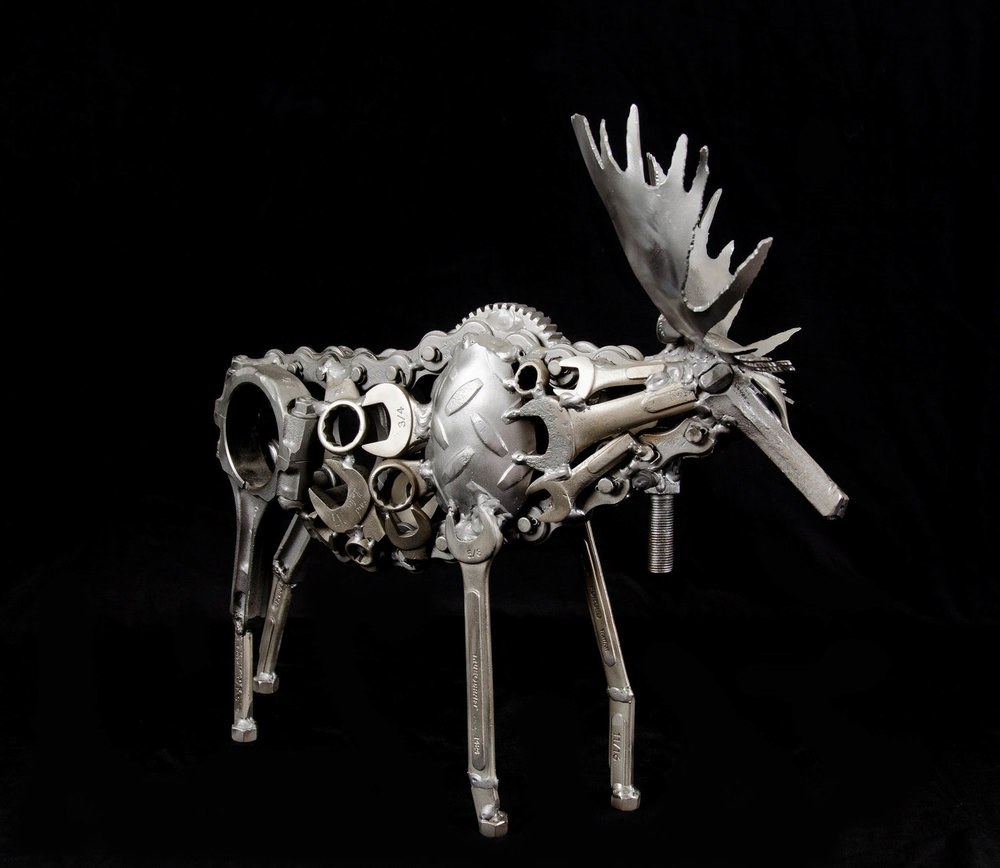Paul Baker, Legacy Moose, 2016. Found metal.