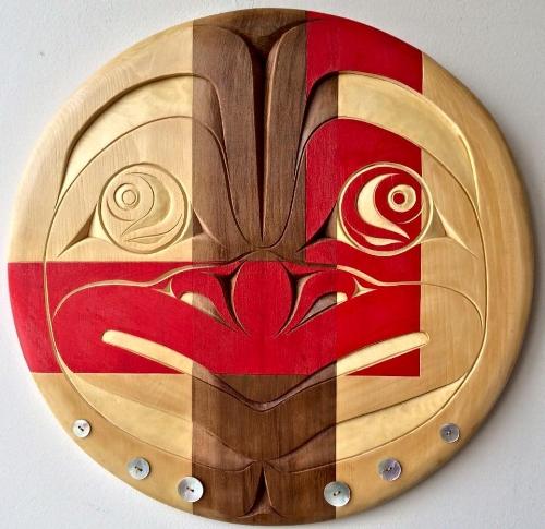 "Blake Nelson Shaá'koon Lepine, A Warrior's Presence, June 2016, 14"" Round, Red Cedar, Yellow Cedar, Akoya Buttons"