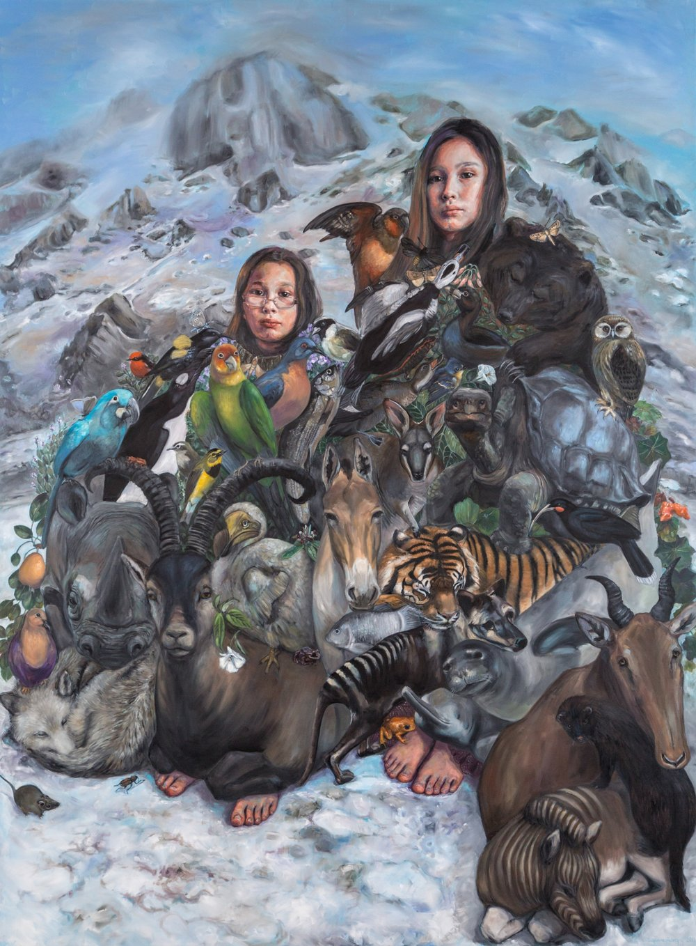 Suzanne Paleczny,  Weight of the World.  Oil on Canvas.108 x 80 in.