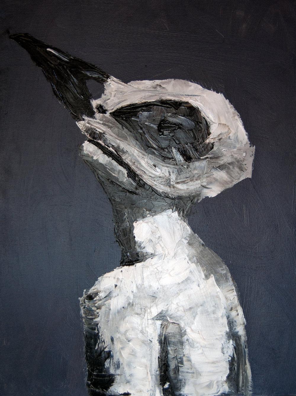 Heather Von Steinhagen,  Bird Brain , 2015.Acrylic and Oil on Canvas.18 x 24 in.
