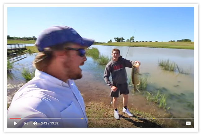 Bass fishing at the bk ranch ft jon b and andrew flair of for Jon b fishing