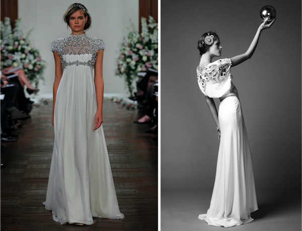 L: Rapunzel by Jenny Packham (Bridal SS2013); R: Jean by Temperley London