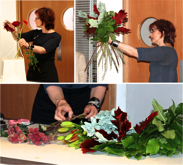 Dawn Lavelle, our course director for the day, first conditions the stems and next resumes to start the spiral hand-tied bouquet with different foliage leaves