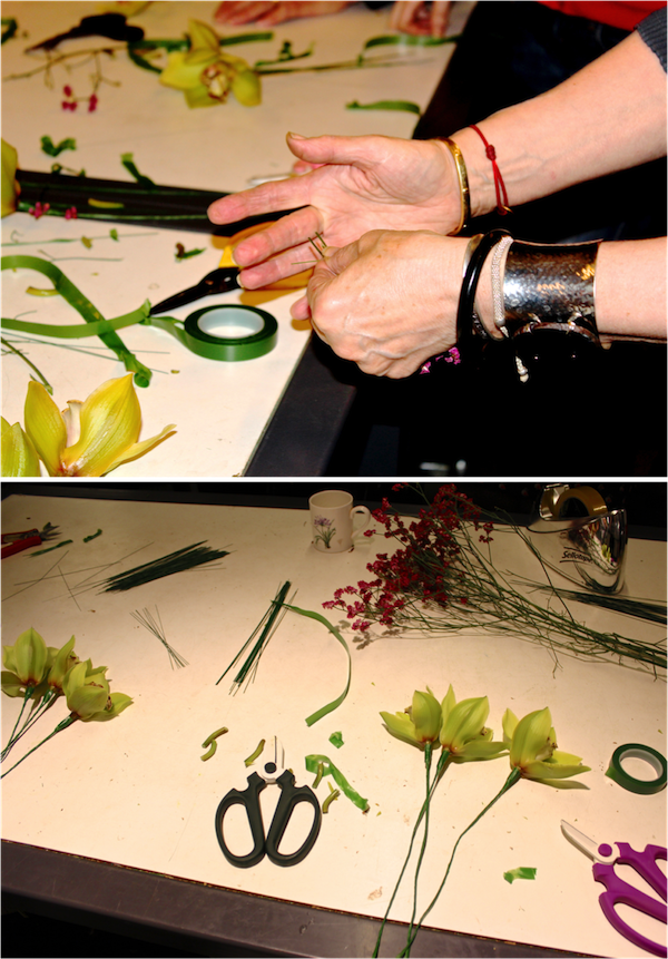A demonstration of how to wire flowers