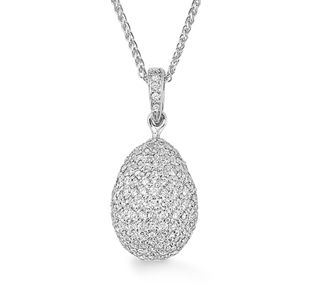 Diamond coated egg with 280 individually set diamonds in 18ct white gold hanging on a diamond pave loop from a platinum chain