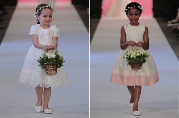 L: White cotton batiste   flowergirl dress with eyelet embroidery;   R: Ivory silk shantung flowergirl dress with pink border