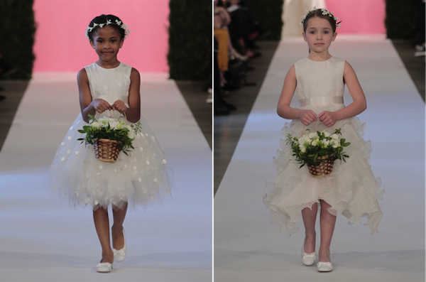 L: White tulle flowergirl dress with pearl painted dots; R: White organza flowergirl dress with organza ruffles