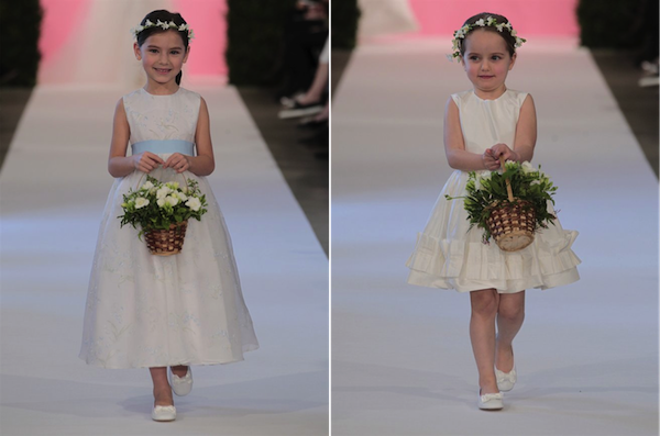 L: Bluebell printed organza flowergirl dress; R: Ivory silk shantung flowergirl dress with box pleats