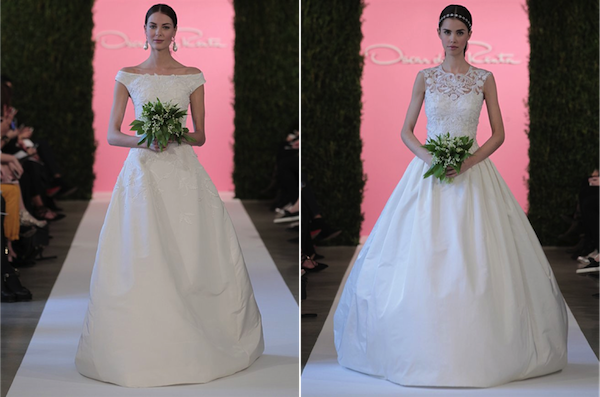 L: White silk faille ball gown with taffeta origami embroidery; R: Ivory radzimir ball gown with silk threadwork embroidery
