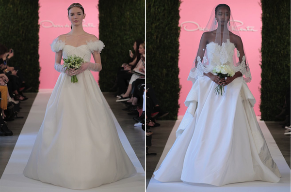 L: Ivory silk organza ball gown with silk chiffon detail;  R: White silk faille ball gown with lace appliqué and draped bustle, ivory tulle veil with lace appliqué