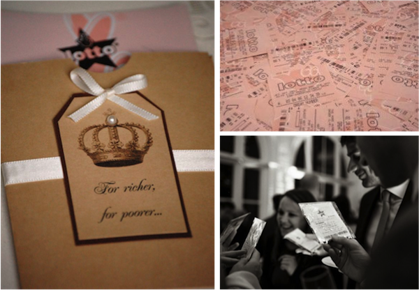 LEFT: The English Wedding Blog | Card: Vintage Twee RIGHT: Lottery Tickets ; Guests: P: Lyndsey Goddard Photography