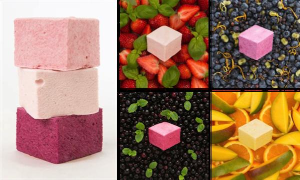 Flavours on top row: Strawberry & Basil ; Blueberry & Portobello Road Gin Flavours on bottom row: Blackcurrant & Mint ; Mango & Sweet Orange