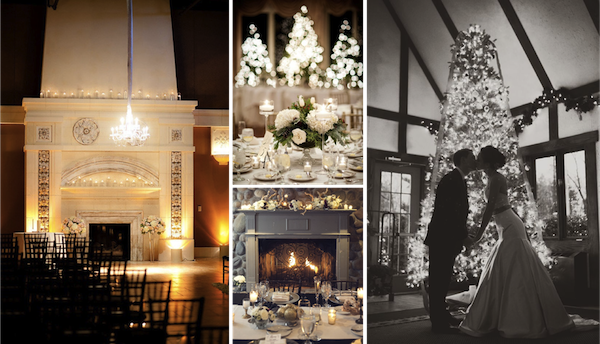 Ceremony:  Style Me Pretty  | P:  The   Youngrens  ; Tablesetting:  Pinterest    Fireplace:  Pinterest  ; Christmas tree:  Pinterest