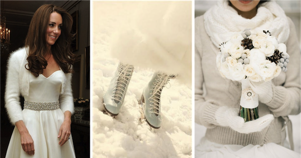 Duchess of Cambridge's angora shrug:  Getty Images    Winter boots & Bridal bouquet:  Sortrature