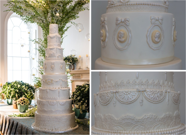 A tall pearlescent tiered cake for Spring
