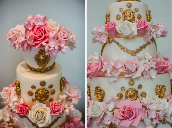 Summer's pink, white and gold cameo and rose cake
