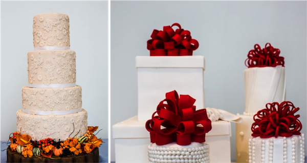 A cream tiered cake flanked with Autumnal pumpkins & berries; Winter's Christmas present inspired cakes topped with red bows