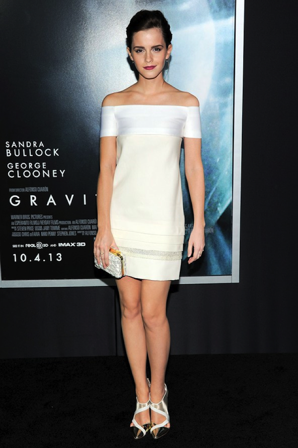 Emma Watson elegantly wears the off-the-shoulder look.
