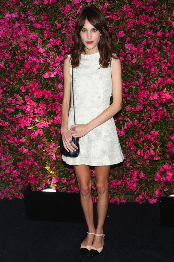 'It' girl Alexa Chung boasts a beautiful white tweed 60s insipired ensemble.