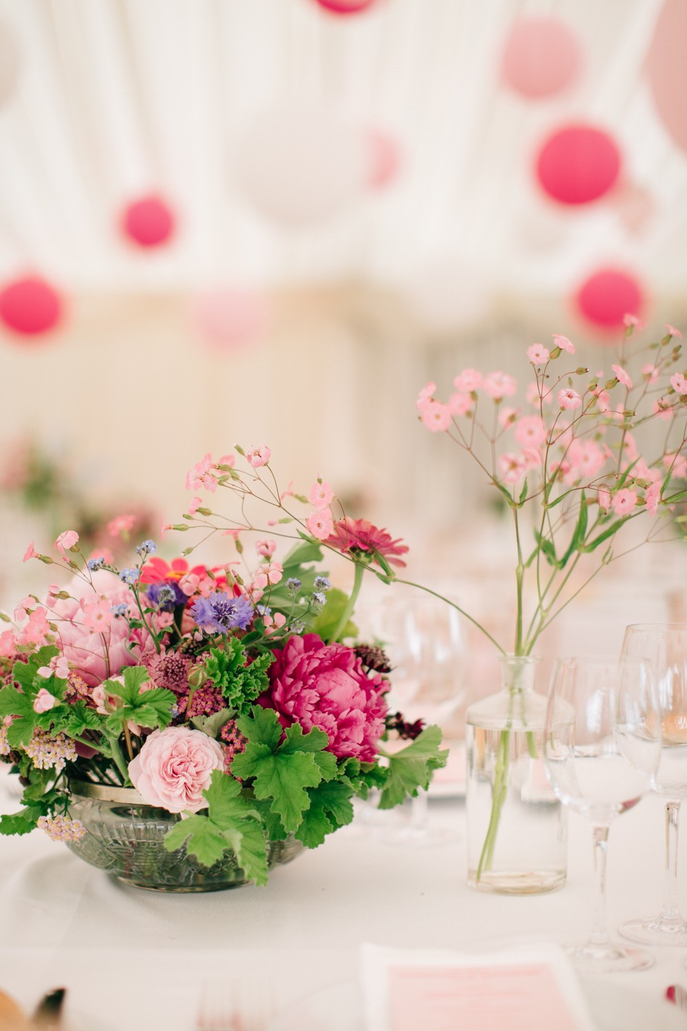 Pink flowers | Wedding Reception | Luxury Wedding Planner | Lamare London