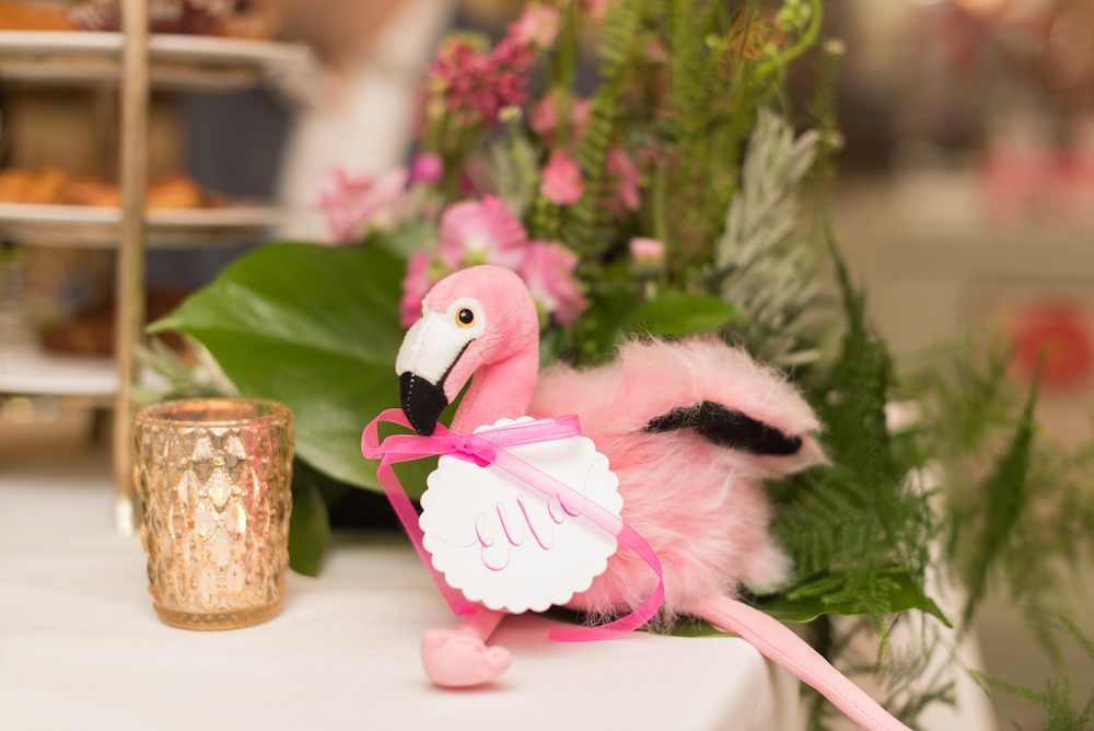 Pink London Baby Shower at The Ivy, Chelsea with flamingoes