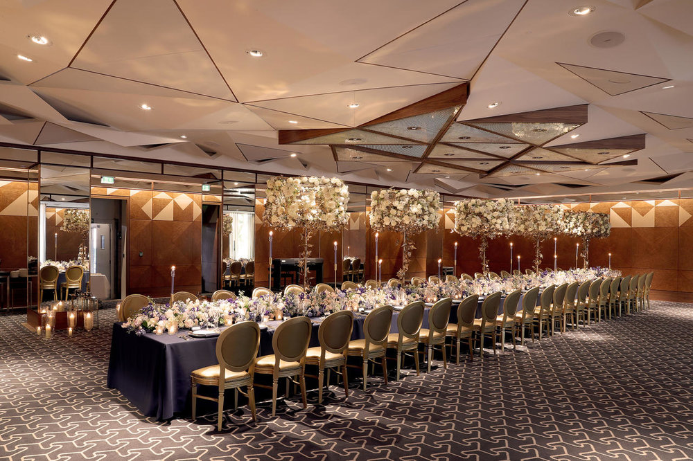 The new, high end, contemporary Ballroom at The Berkeley provides the perfect blank canvas to bring your wedding or event to life, with state of the art lighting which can be adjusted to suit your chosen colour scheme.
