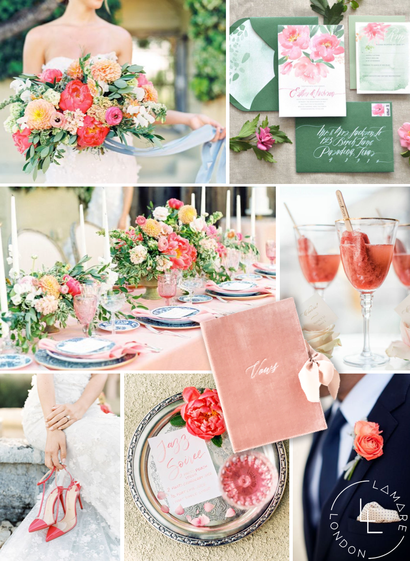 Pantone Color of the Year 2019 | Pantone Living Coral Moodboard | Wedding Moodboard | Wedding Inspiration | Luxury Wedding Planner | Lamare London