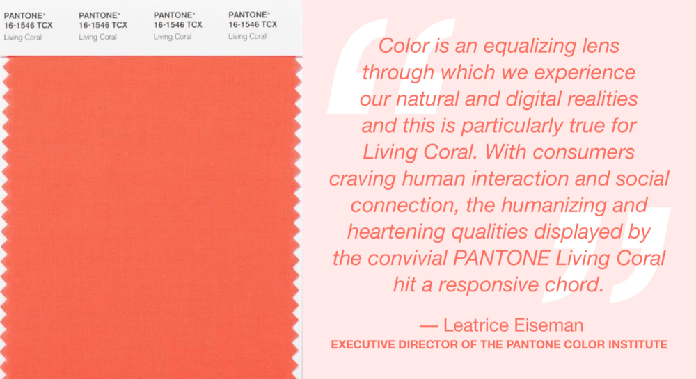 Pantone Color 2019 quote Leatrice Eiseman, Executieve Director of the Pantone Color Institute