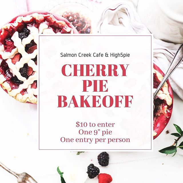 Calling all bakers!  We are bringing back High 5 's annual cherry pie bake-off! This year it will be held at our home base in Burien @salmoncreekcafe on July 28 starting at 3 pm. $10 to enter, one entry per person and your pie must have some sort of cherry in it, so let's get creative!  Email salmoncreekcafe@gmail.com to enter!