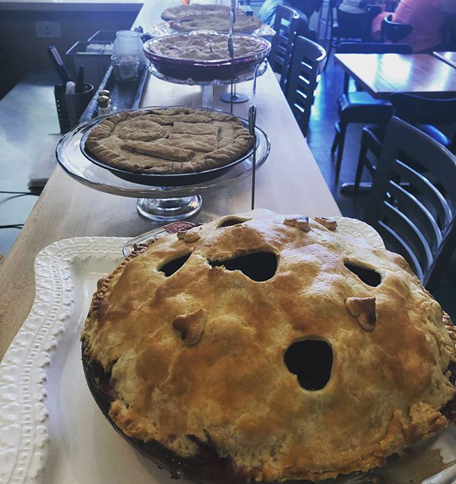 Oh man what a day! Cherry pie bake-off was a delicious success!  Here's a few snaps of the delicious delicious pies.... #cherrypie #bakeoff #winner #salmoncreekcafe #high5pie