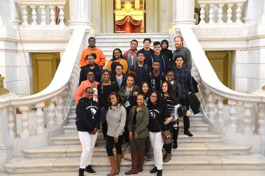 Hosting student from E-Cubed Academy at the RI State House.