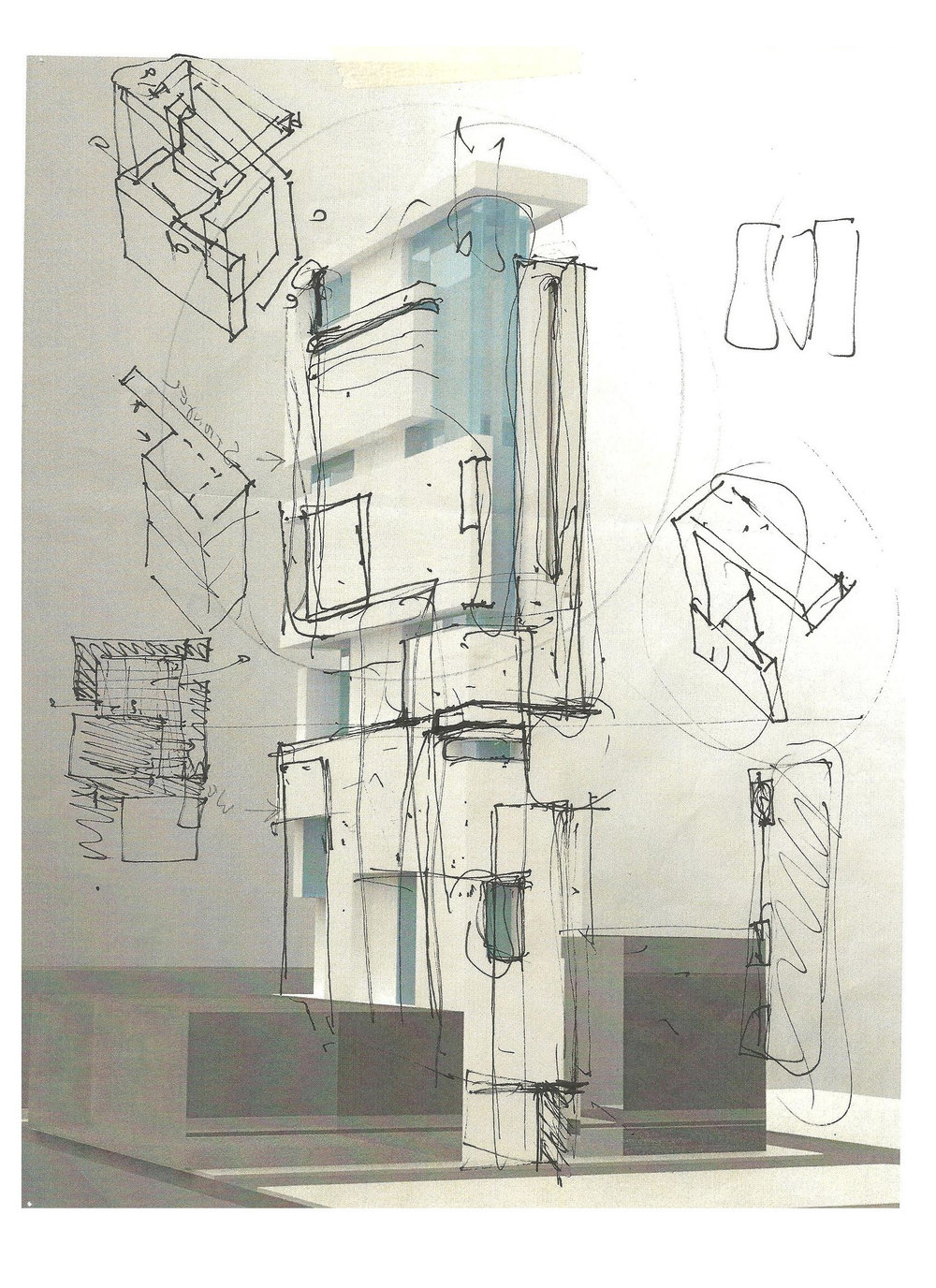 This High-rise proposal for 1527 Walnut Street is based on a study of the underlying geometries in cubist art. Cubism shows that a single perspective does not reveal the true nature of a subject. It was this idea that inspired geometric patterns in some of the most influential art of the 20th century to drive the form of the high-rise.