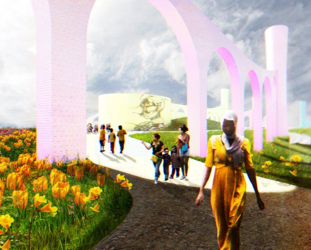 Incomplete project: Conceptual trash relocation site.