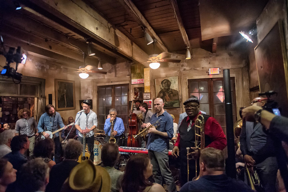 Members of The Preservation Hall Jazz Band & Amos Lee. Photo courtesy of Marc Millman
