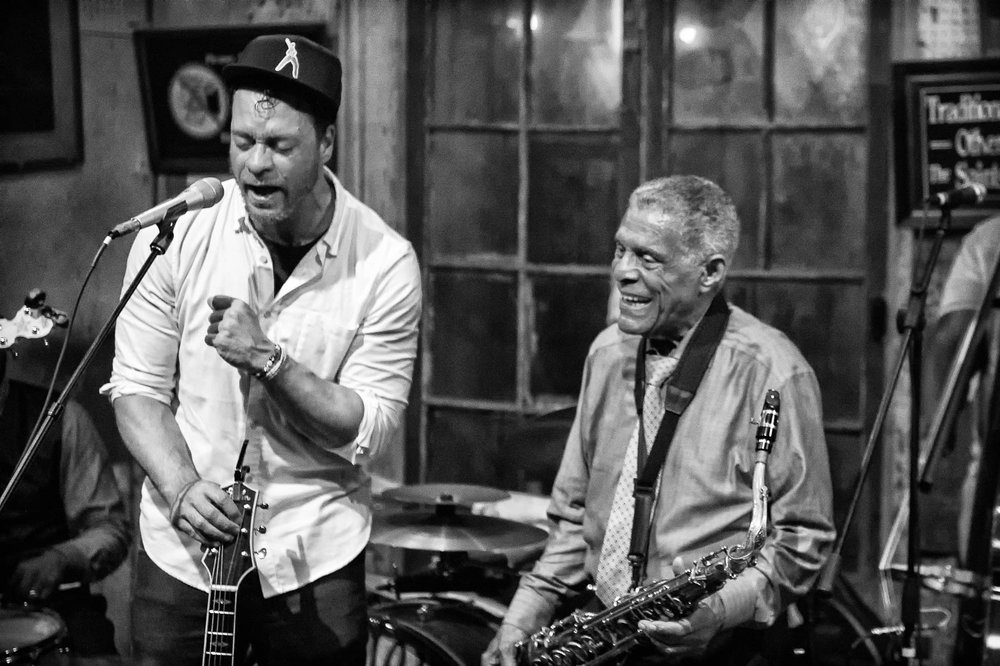 Charlie Gabriel of The Preservation Hall Jazz Band & Amos Lee. Photo courtesy of Marc Millman