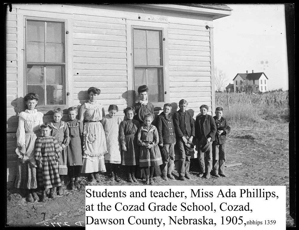 Butcher, Dawson County, Cozad, Students and Teacher Ada Phillips, Cozad Grade School, 1905.jpg