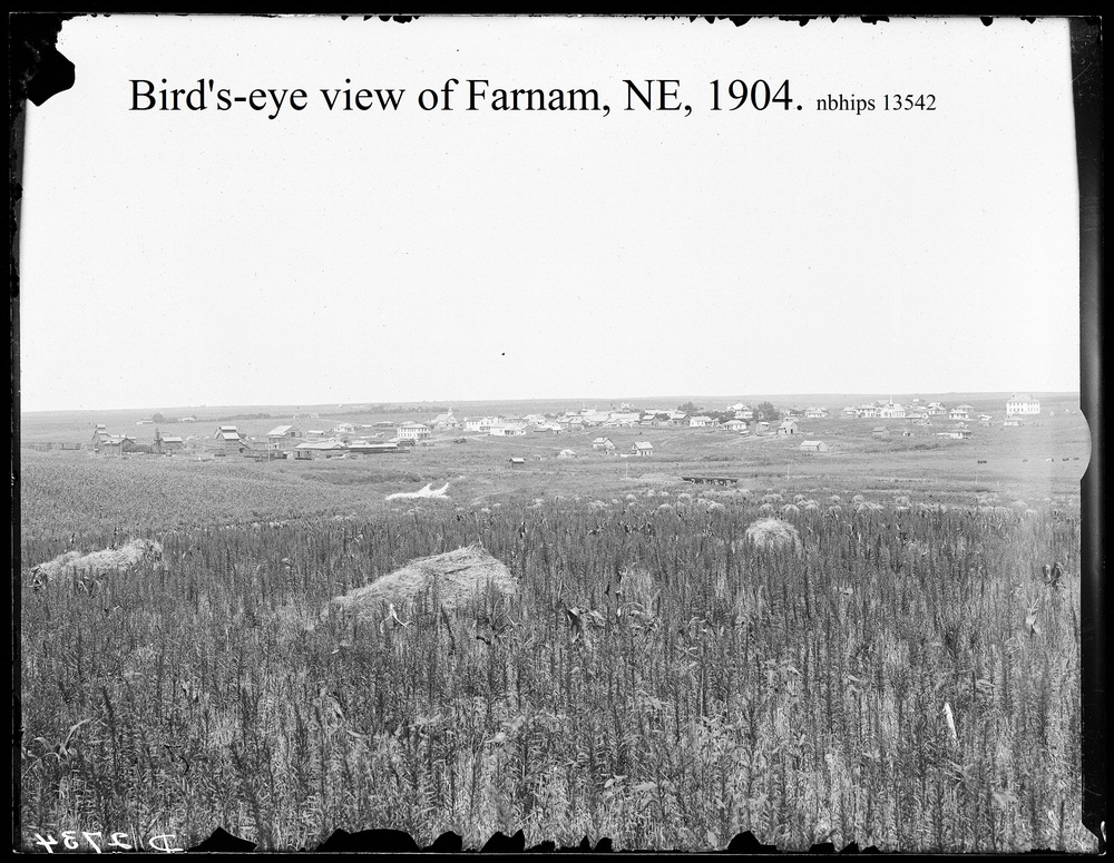 Butcher, Dawson County, Farnam bird's-eye view, fields, RR, town.jpg