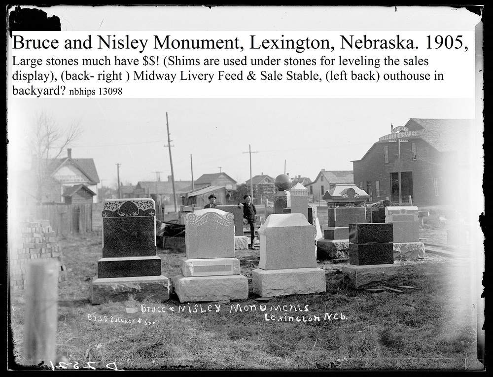 Butcher, Dawson County, Lexington, Monument Co., (Bruce & Nisley), 1905, Midway Livery in back.jpg