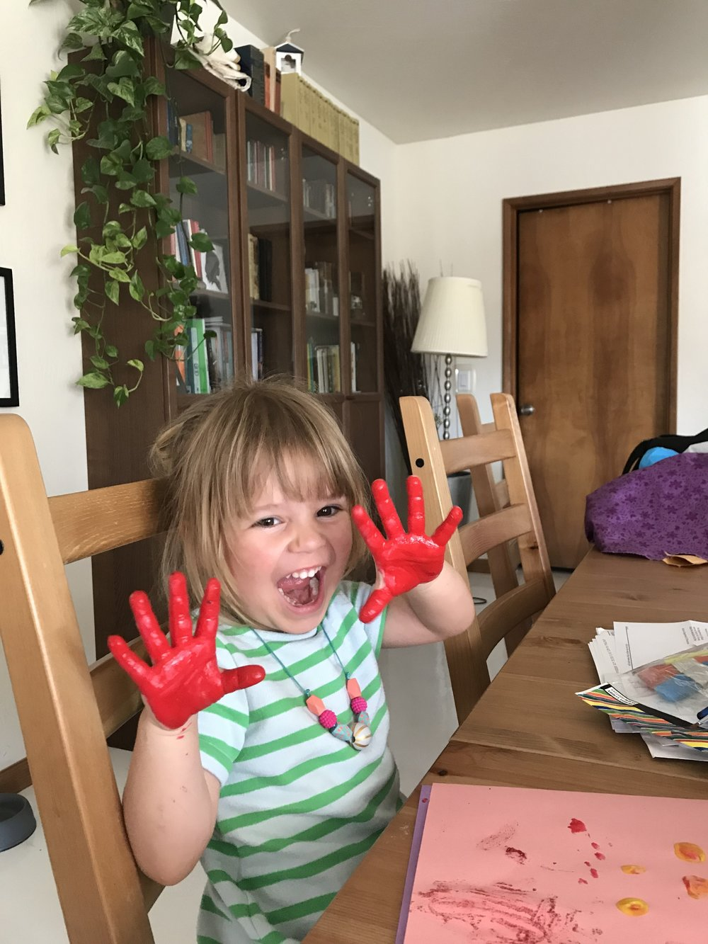 We were painting here, but I think this captures the chaos of a toddler.