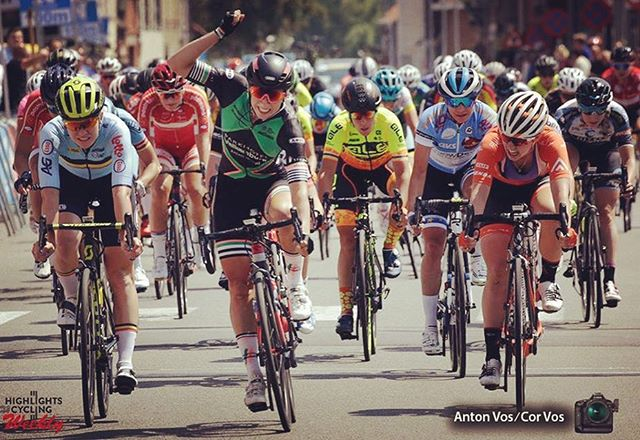 Way to ride Emma, 3rd in the sprint finish @BeNeLadiesTour! @emmawhite7 @rallycycling #BNLT18