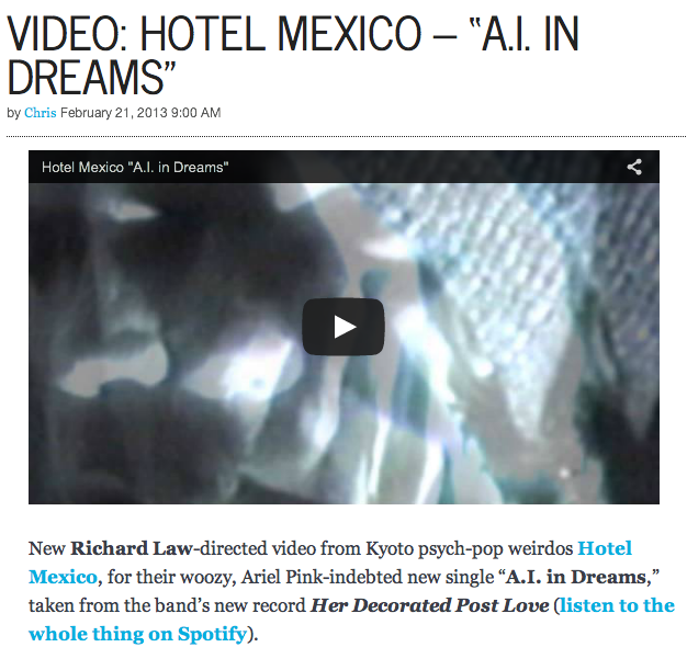 "Gorilla vs Bear: Video: Hotel Mexico - ""A.I. In Dreams"""