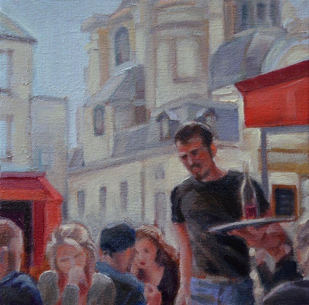 """""""Le MARAIS CAFE"""", 8""""x 8"""" oil on canvas,SOLD"""