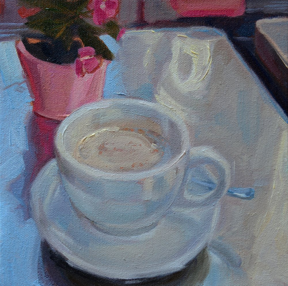 """AVIGNON CAFE"", 8""x 8"" oil on canvas, SOLD"