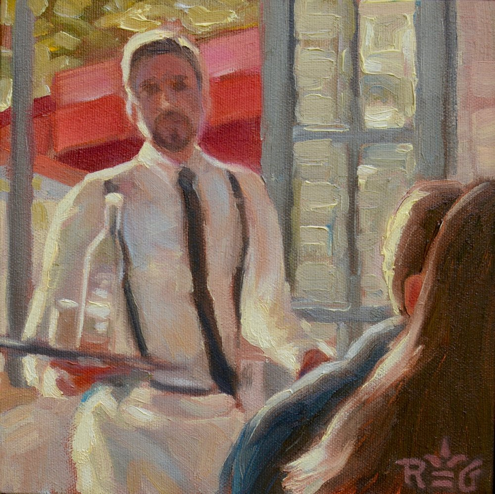 """St. REGIS CAFE"", 8""x 8"" oil on canvas, $120"