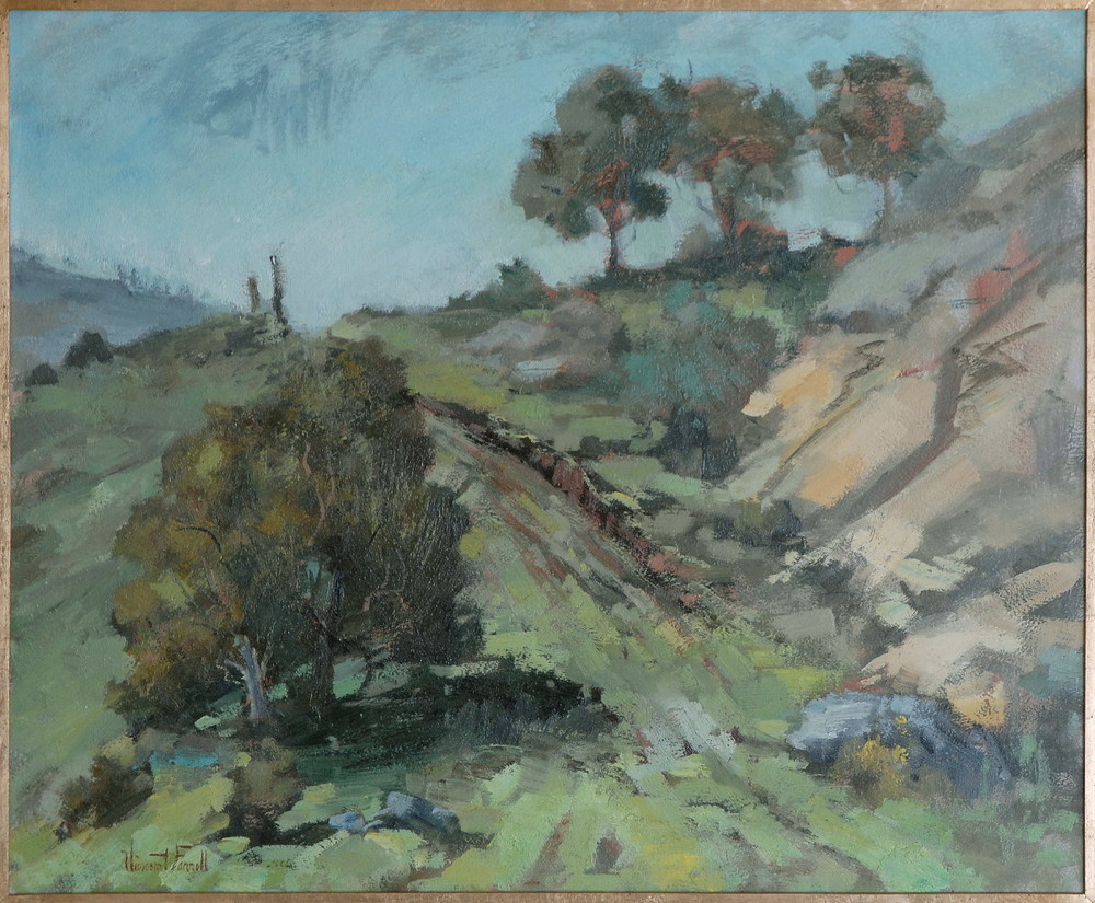 Painting of Laguna Canyon by Southern California impressionist Vincent Farrell (1928-2008)