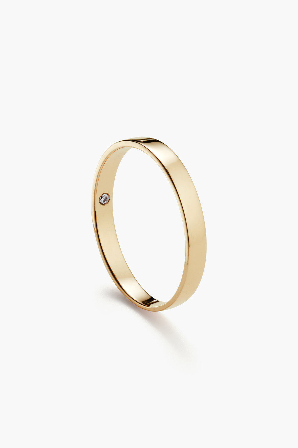 Classic Flat, 3mm Yellow Gold (Thin with birthstone)
