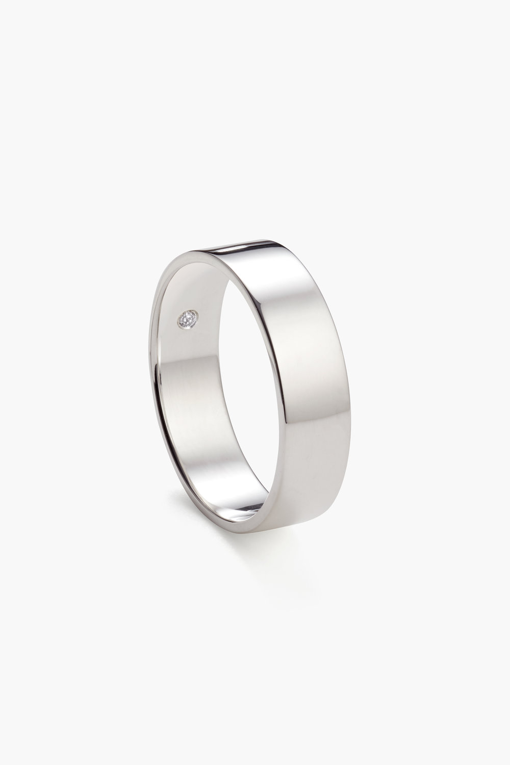 Classic Flat, 6mm White Gold (Extra Wide with birthstone)