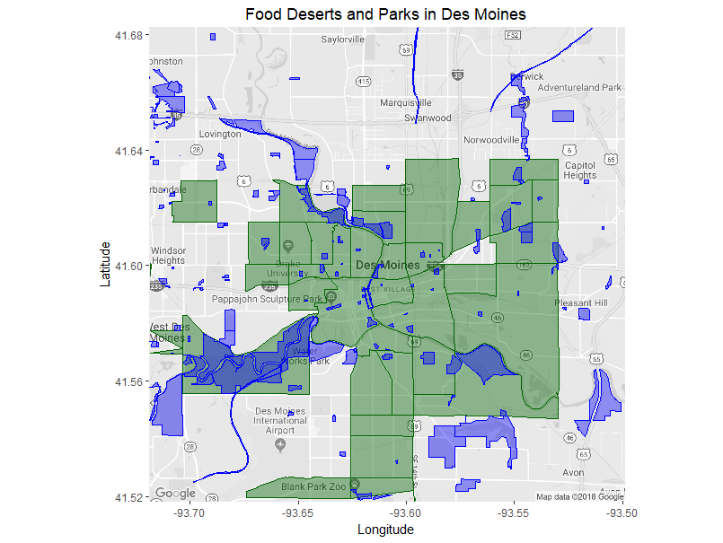Green: food deserts Blue: parks   Sources: ers.usda.gov, maps.dmgov.org
