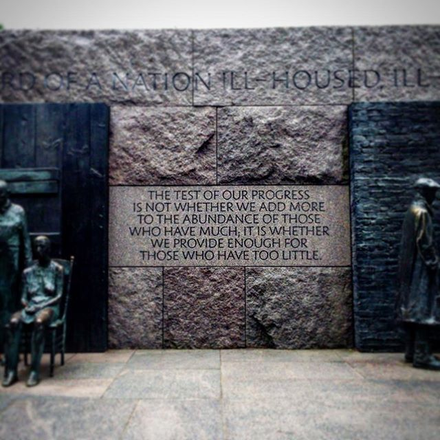 """The test of our progress is not whether we add more to the abundance of those who have much, it is whether we provide enough for those who have too little"" #fdr #memorial inspiration for our work #khewcornelius #tech and #architecture #startup"