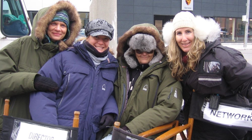 Against The Wall  Creator Annie Brunner, Lifetime Executive AnaLucia Cottone, Showrunner Nancy Miller and Kristin Palombo on set in Toronto